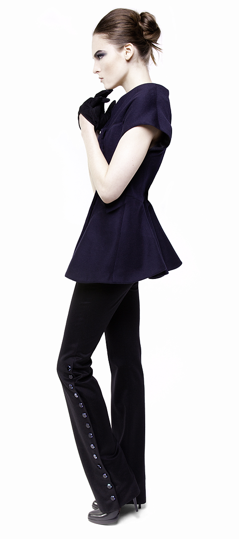navy concealed snap front sculpted tunic jacket in cashmere
