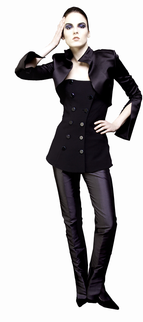 black bolero jacket in double face silk duchesse side view