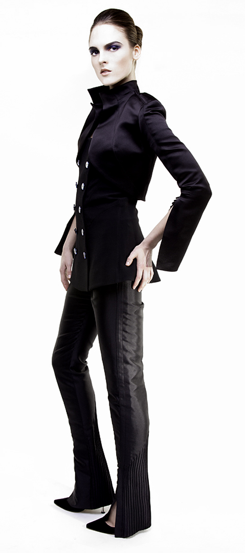 black bolero jacket in double face silk duchesse