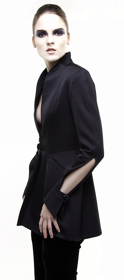 black cutaway sleeve jacket in double face silk duchesse side view