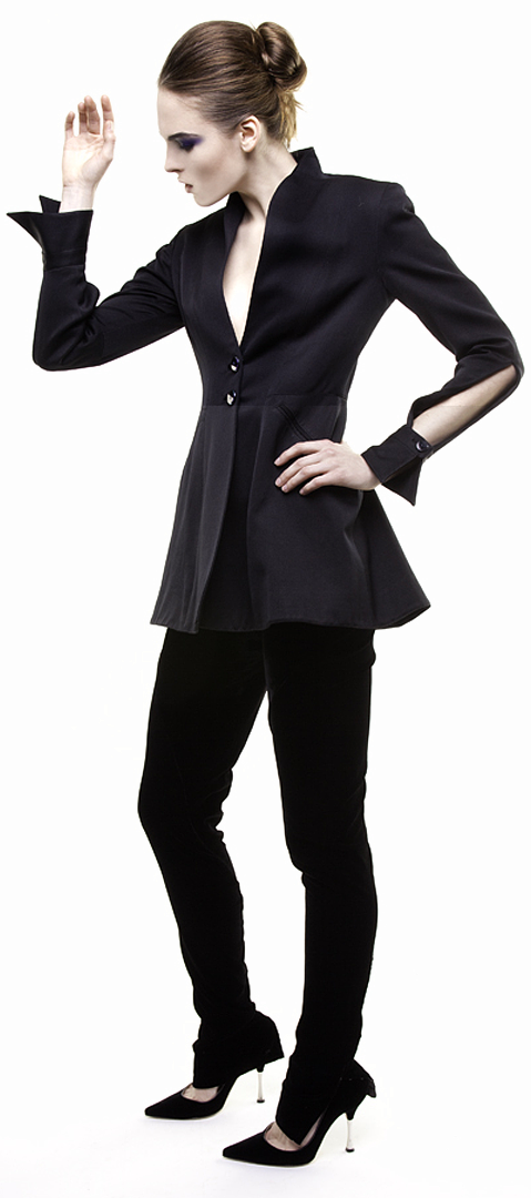 black cutaway sleeve jacket in double face silk duchesse