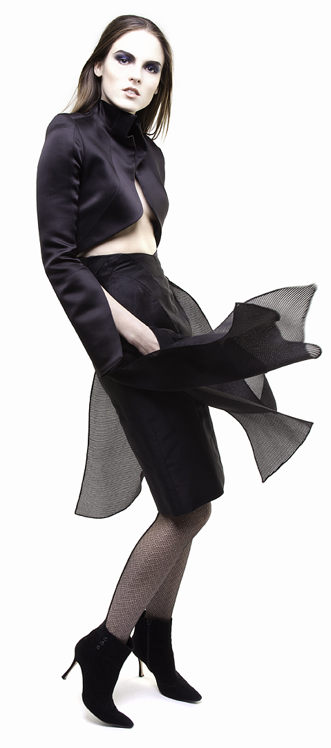 black flyaway paneled skirt in silk peau de soie & silk basket weave gazar side view