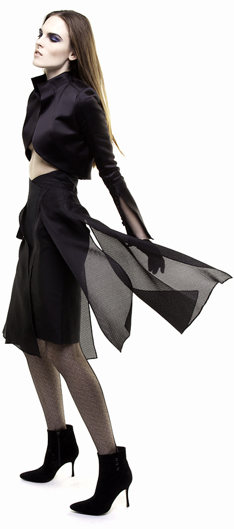 black flyaway paneled skirt in silk peau de soie & silk basket weave gazar