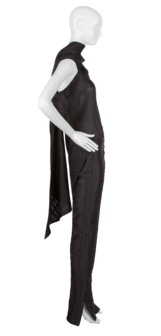 black scarf back blouse in basket weave silk gazar