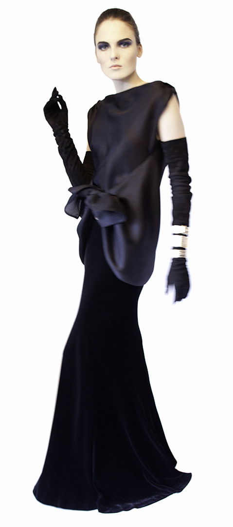 black tie front basket weave blouse in silk gazar side view