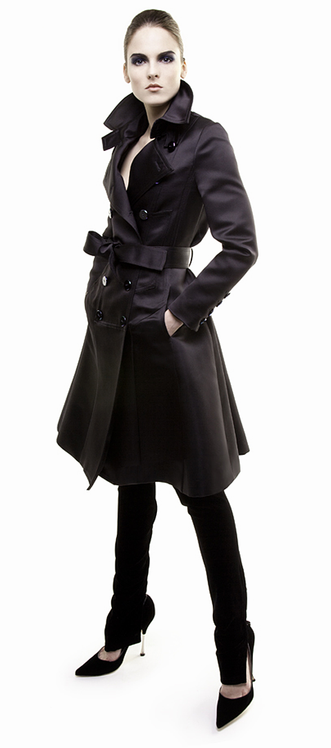 black trench coat in double face silk duchesse